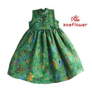 dress anak zoeflower green motif batik
