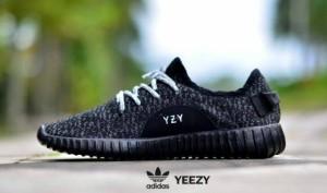 sepatu casual sport running gym women adidas yeezy full black