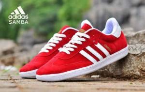 sepatu casual sport running gym adidas samba red white