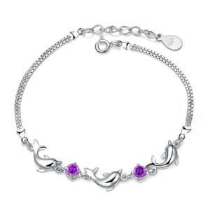 Gelang Dolphin Bracelet Purple Crystal 925 Sterling Silver
