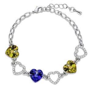 Gelang Heart Crystal Charm Bracelet 925 Sterling Silver