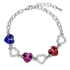 Gelang Heart Crystal Charm Bracelet 925 Sterling Silver - Purple
