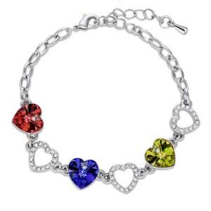Gelang Heart Crystal Charm Bracelet 925 Sterling Silver - Yellow
