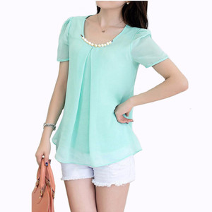 NEW Jfashion Korean Style Blus With Necklace Short Sleeve - Turquoise
