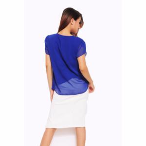 NEW Jfashion Korean Style Blus With Pearl Necklace Short Sleeve - Biru