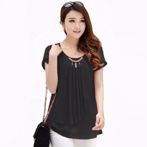 NEW Jfashion Korean Style Blus With Pearl Necklace Short Sleeve - Hita