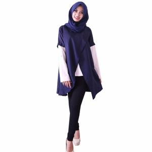 NEW Alona Baju Atasan Wanita Lengan Panjang 2 Lapis Katun Solid - Biru