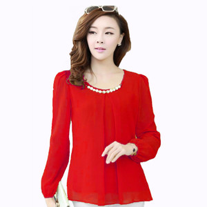 NEW Jfashion Blus Fashion Korean Style With Necklace Long Sleeve - Mer