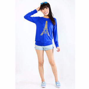 NEW Jfashion Women's Tshirt Print Paris Long Sleeve - Biru HGB