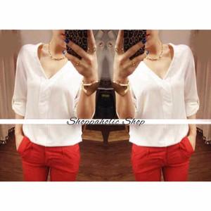 NEW Shoppaholic Shop Hem Blouse V neck Sleeve - White HGB
