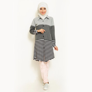 NEW Jfashion Three Tones Long Tunik Jessica - Abu Muda HGB