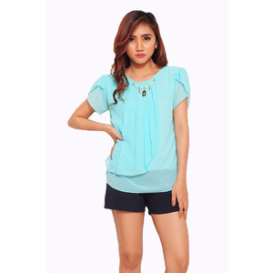 NEW Jfashion Korean Style Blus With Pearl Necklace Short Sleeve - Turk