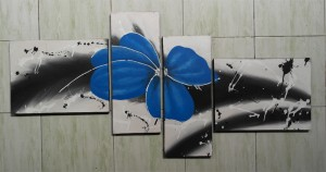 Lukisan Bunga ABS33 Biru