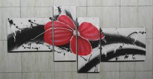 Lukisan Bunga ABS33 Merah