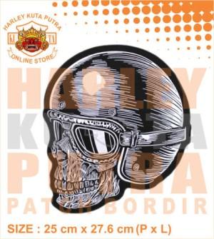 Patch Jaket Touring Helm Skull Motorcycle Caferacer untuk jaket kulit