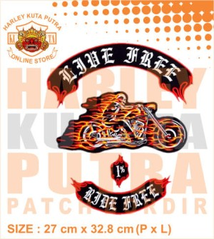 Patch Jaket Touring Ghost Rider Fire Motorcycle Caferacer untuk rompi