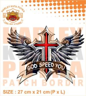 Patch Jaket Touring God Speed Way Motorcycle Caferacer untuk jaket bik