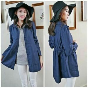 FG - [ Hem Hiro YT] pakaian wanita kemeja warna biru denim
