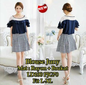 FG - [ Blouse Juny SW] pakaian wanita blouse korea warna navy