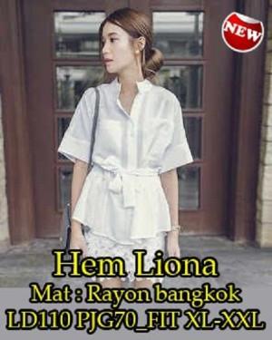FG - [ Hem Liona SW ] pakaian wanita kemeja warna broken white