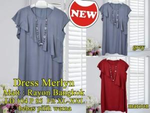 FG - [Dress Merlyn SW] dress wanita rayon bangkok maroon dan abu abu S