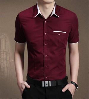 FG - [kemeja winston maroon OT] pakaian pria kemeja lengan pendek maro
