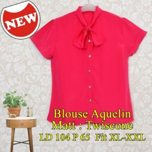 FG - [Blouse Aquelin SW] blouse wanita twiscone pink fanta
