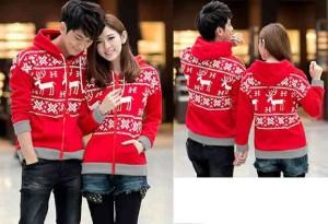FG - [Couple Snowflake Merah LO] Jaket couple babyterry merah