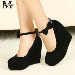 Sepatu Wanita Wedges Murah Suede   1072 Hitam