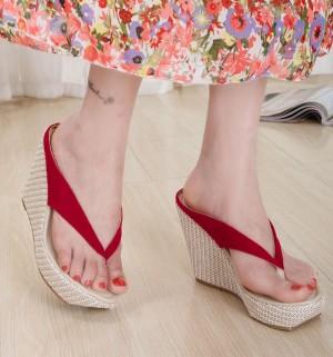 Sepatu Wanita Wedges Murah Japit / Gws-1098 Merah