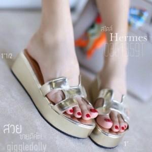 Sepatu Wanita Wedges Murah Selop Hermes 1105 Gold