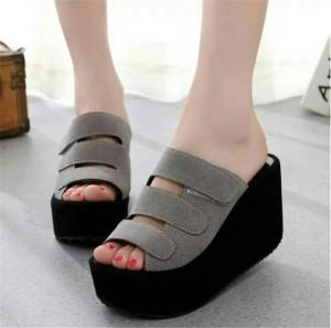Sepatu Wanita Wedges Pesta Flat Form Strip Abu