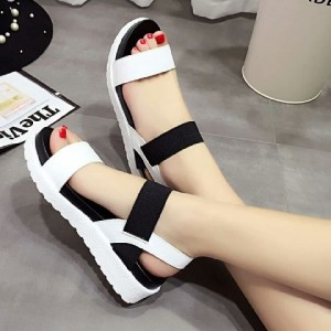 Sepatu Wanita Wedges Murah Hitam Putih - 1073