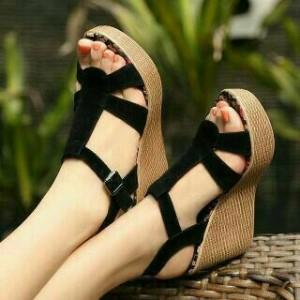 Sepatu Wanita Wedges Pesta Santai Tali Hitam Dasar Bunga