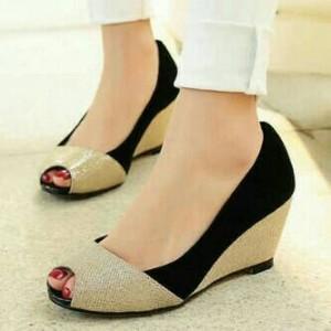 Sepatu Wanita Wedges / Sepatu Kerja Pesta Glitter Electric Hitam