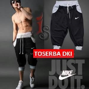 Celana pendek jogger pants 3/4 list abu CS26
