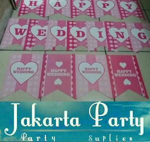 Banner Happy Wedding Pink Polka / Bunting Flag Happy Wedding Pink