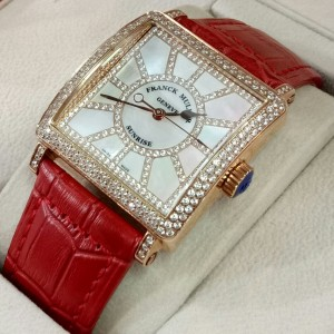 Franck Muller Sunrise Master Square Diamond ROSEGOLD Red Leather LADY