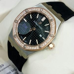 Jam Tangan Lady AP Royal Oak Jumbo Diamond ROSEGOLD Combi Black Rubber