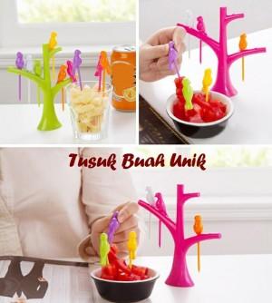 Tusuk buah pengganti garpu motif pohon burung / Bird tree pick