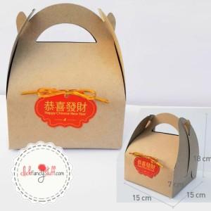 Kraft gable box / snack dus dengan tag chinese new year