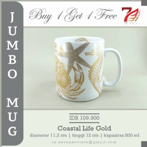 Jumbo Mug Coastal Life Gold / Gelas Keramik Warna Emas Tema Hewan Laut