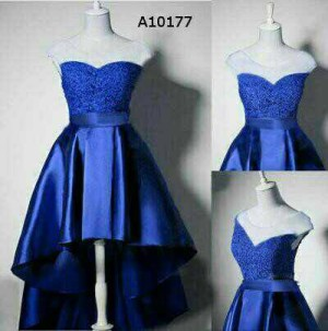 Dress Blue Tiara Biru Brukat Tile