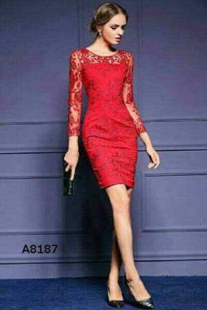 Dress Brukat Shelomitha Red Merah