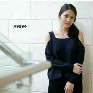 Blouse Sabrina Knit Premium Navy Tangan Bolong Jumbo XL