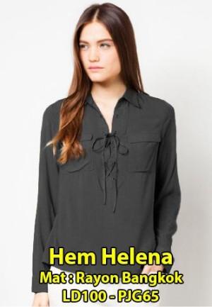 FG - [Hem Helena SW] blouse wanita rayon bangkok abu abu