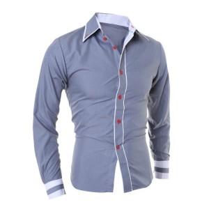 FG - [hem randhy grey OT] pakaian pria kemeja slim fit warna abu