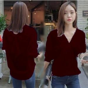 FG - [Kemeja adry maroon HO] kemeja wanita katun rayon maroon