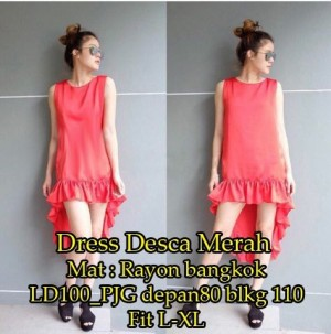 FG - [Dress Desca Merah SW] dress wanita rayon bangkok merah