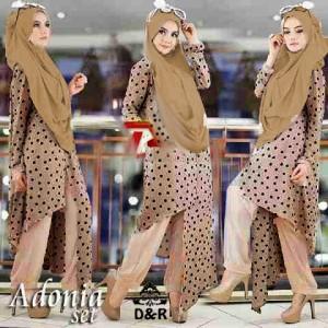 FG - [st adonia 3in1 DR] baju muslim wanita rayon coklat